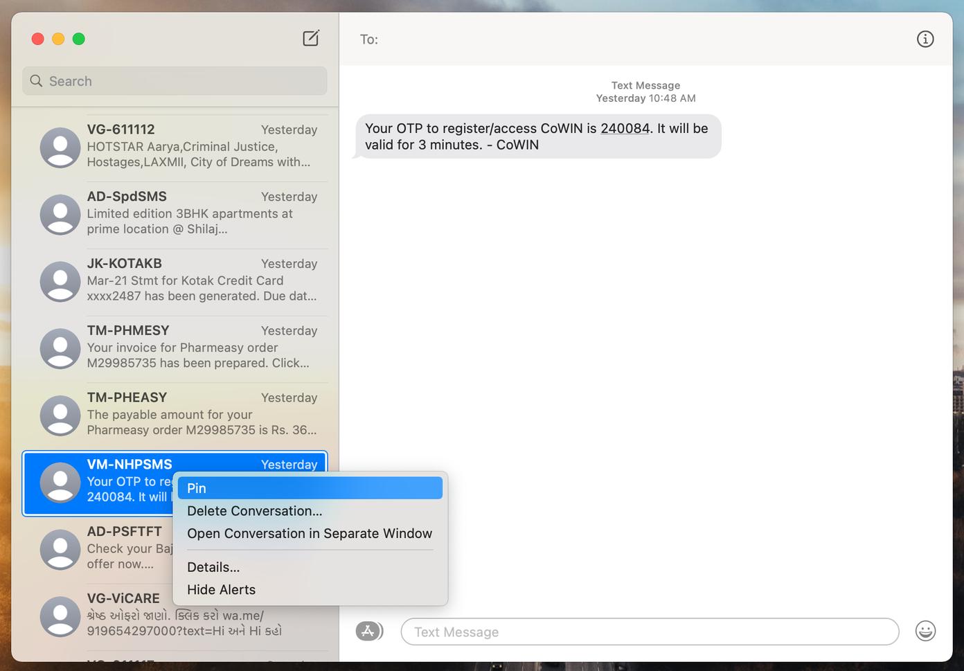 Épingler des messages sur mac